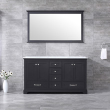 Lexora Dukes 60 Inch Espresso Double Vanity, White Carrara Marble Top, White Square Sinks and 58 Inch Mirror