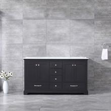 Lexora Dukes 60 Inch Espresso Double Vanity, White Carrara Marble Top, White Square Sinks and no Mirror