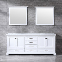 Lexora Dukes 80 Inch White Double Vanity, White Carrara Marble Top, White Square Sinks and 30 Inch Mirrors