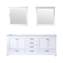 Lexora Dukes 80 Inch White Double Vanity, no Top and 30 Inch Mirrors