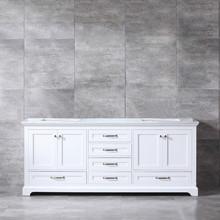 Lexora Dukes 80 Inch White Double Vanity, White Carrara Marble Top, White Square Sinks and no Mirror
