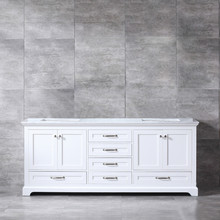 Lexora Dukes 80 Inch White Double Vanity, White Carrara Marble Top, White Square Sinks and no Mirror