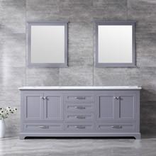 Lexora Dukes 80 Inch Dark Grey Double Vanity, White Carrara Marble Top, White Square Sinks and 30 Inch Mirrors