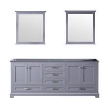 Lexora Dukes 80 Inch Dark Grey Double Vanity, no Top and 30 Inch Mirrors
