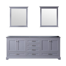 Lexora Dukes 80 Inch Dark Grey Double Vanity, no Top and 30 Inch Mirrors