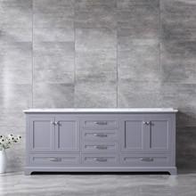 Lexora Dukes 80 Inch Dark Grey Double Vanity, White Carrara Marble Top, White Square Sinks and no Mirror