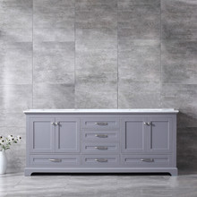Lexora Dukes 80 Inch Dark Grey Double Vanity, White Carrara Marble Top, White Square Sinks and no Mirror