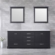 Lexora Dukes 80 Inch Espresso Double Vanity, White Carrara Marble Top, White Square Sinks and 30 Inch Mirrors