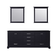 Lexora Dukes 80 Inch Espresso Double Vanity, no Top and 30 Inch Mirrors