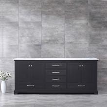 Lexora Dukes 80 Inch Espresso Double Vanity, White Carrara Marble Top, White Square Sinks and no Mirror