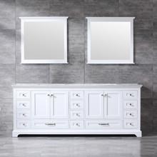 Lexora Dukes 84 Inch White Double Vanity, White Carrara Marble Top, White Square Sinks and 34 Inch Mirrors