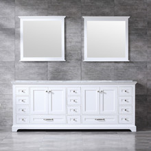 Lexora Dukes 84 Inch White Double Vanity, White Carrara Marble Top, White Square Sinks and 34 Inch Mirrors