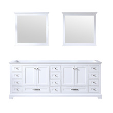 Lexora Dukes 84 Inch White Double Vanity, no Top and 34 Inch Mirrors