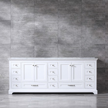 Lexora Dukes 84 Inch White Double Vanity, White Carrara Marble Top, White Square Sinks and no Mirror