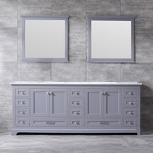 Lexora Dukes 84 Inch Dark Grey Double Vanity, White Carrara Marble Top, White Square Sinks and 34 Inch Mirrors