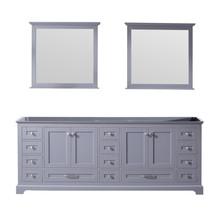 Lexora Dukes 84 Inch Dark Grey Double Vanity, no Top and 34 Inch Mirrors