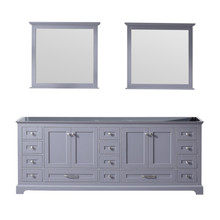 Lexora Dukes 84 Inch Dark Grey Double Vanity, no Top and 34 Inch Mirrors