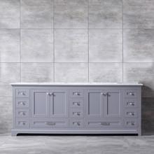 Lexora Dukes 84 Inch Dark Grey Double Vanity, White Carrara Marble Top, White Square Sinks and no Mirror