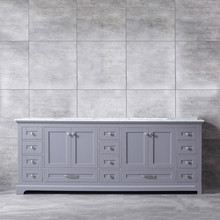 Lexora Dukes 84 Inch Dark Grey Double Vanity, White Carrara Marble Top, White Square Sinks and no Mirror
