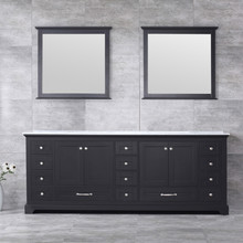 Lexora Dukes 84 Inch Espresso Double Vanity, White Carrara Marble Top, White Square Sinks and 34 Inch Mirrors