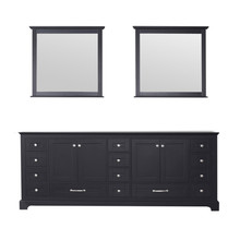 Lexora Dukes 84 Inch Espresso Double Vanity, no Top and 34 Inch Mirrors