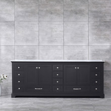 Lexora Dukes 84 Inch Espresso Double Vanity, White Carrara Marble Top, White Square Sinks and no Mirror