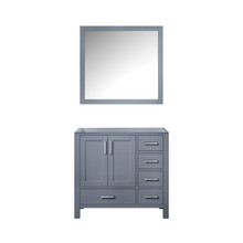 Lexora Jacques 36 Inch Dark Grey Single Vanity, no Top and 34 Inch Mirror - Left Version