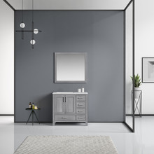 Lexora Jacques 36 Inch Distressed Grey Single Vanity, White Carrara Marble Top, White Square Sink and 34 Inch Mirror - Left Version