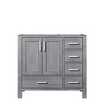 Lexora Jacques 36 Inch Distressed Grey Vanity Cabinet Only - Left Version