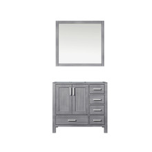 Lexora Jacques 36 Inch Distressed Grey Single Vanity, no Top and 34 Inch Mirror - Left Version