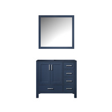 Lexora Jacques 36 Inch Navy Blue Single Vanity, no Top and 34 Inch Mirror - Left Version