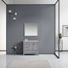 Lexora Jacques 36 Inch Distressed Grey Single Vanity, White Carrara Marble Top, White Square Sink and 34 Inch Mirror - Right Version