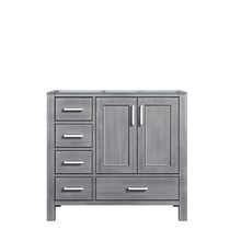 Lexora Jacques 36 Inch Distressed Grey Vanity Cabinet Only - Right Version
