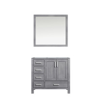 Lexora Jacques 36 Inch Distressed Grey Single Vanity, no Top and 34 Inch Mirror - Right Version