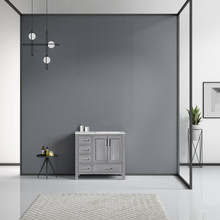 Lexora Jacques 36 Inch Distressed Grey Single Vanity, White Carrara Marble Top, White Square Sink and no Mirror - Right Version