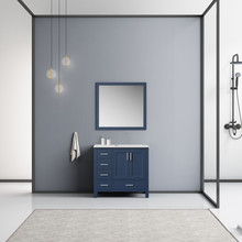 Lexora Jacques 36 Inch Navy Blue Single Vanity, White Carrara Marble Top, White Square Sink and 34 Inch Mirror - Right Version