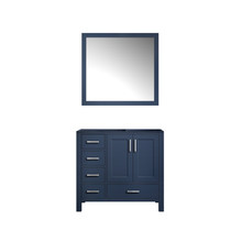 Lexora Jacques 36 Inch Navy Blue Single Vanity, no Top and 34 Inch Mirror - Right Version