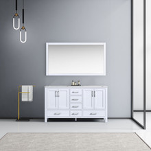 Lexora Jacques 60 Inch White Double Vanity, White Carrara Marble Top, White Square Sinks and 58 Inch Mirror