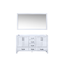 Lexora Jacques 60 Inch White Double Vanity, no Top and 58 Inch Mirror