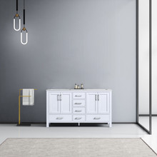 Lexora Jacques 60 Inch White Double Vanity, White Carrara Marble Top, White Square Sinks and no Mirror