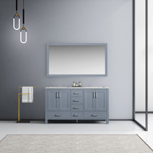 Lexora Jacques 60 Inch Dark Grey Double Vanity, White Carrara Marble Top, White Square Sinks and 58 Inch Mirror