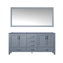 Lexora Jacques 60 Inch Dark Grey Double Vanity, no Top and 58 Inch Mirror