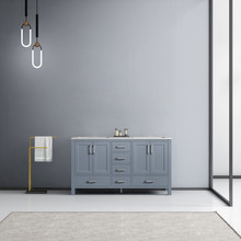 Lexora Jacques 60 Inch Dark Grey Double Vanity, White Carrara Marble Top, White Square Sinks and no Mirror