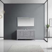 Lexora Jacques 60 Inch Distressed Grey Double Vanity, White Carrara Marble Top, White Square Sinks and 58 Inch Mirror