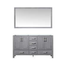 Lexora Jacques 60 Inch Distressed Grey Double Vanity, no Top and 58 Inch Mirror