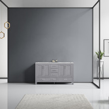Lexora Jacques 60 Inch Distressed Grey Double Vanity, White Carrara Marble Top, White Square Sinks and no Mirror