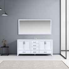 Lexora Jacques 72 Inch White Double Vanity, White Carrara Marble Top, White Square Sinks and 70 Inch Mirror