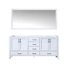 Lexora Jacques 72 Inch White Double Vanity, no Top and 70 Inch Mirror