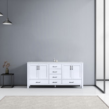 Lexora Jacques 72 Inch White Double Vanity, White Carrara Marble Top, White Square Sinks and no Mirror