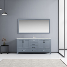 Lexora Jacques 72 Inch Dark Grey Double Vanity, White Carrara Marble Top, White Square Sinks and 70 Inch Mirror